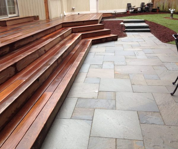 Decking and stone patio