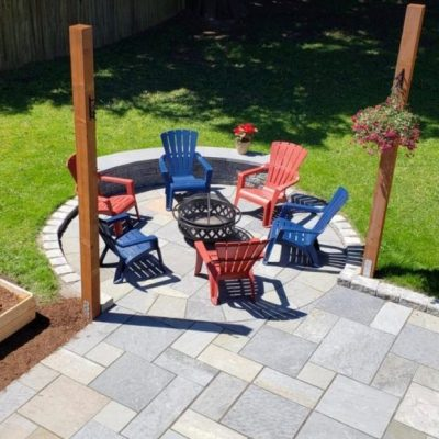 lawn pavers installation after